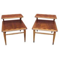Pair of Walnut and Oak Acclaim Collection End Tables by Andre Bus for Lane