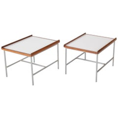 Pair of Walnut and Steel Side Tables in the Manner of Paul McCobb