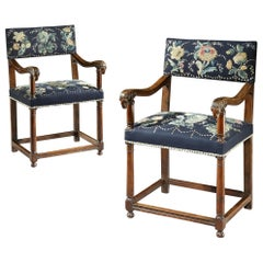 Pair of Walnut Armchairs, Late 16th Century, French Renaissance, with Ram Mask C