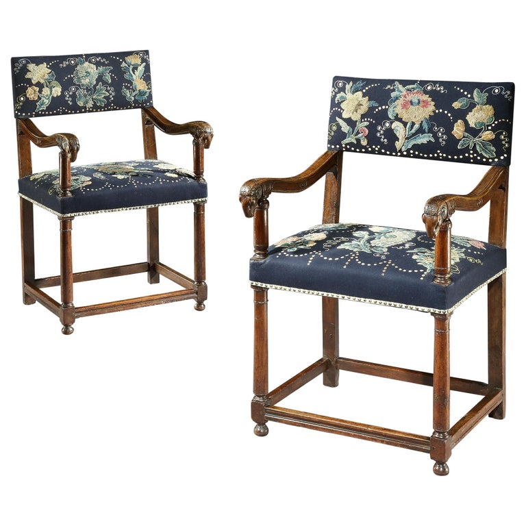 Pair of Walnut Armchairs, Late 16th Century, French Renaissance, with Ram Mask C For Sale