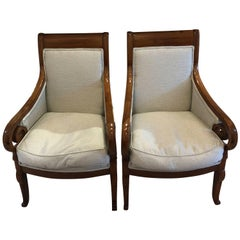 Pair of Walnut Armchairs Upholstered in Angelie C. Seafoam