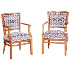 Pair of Walnut Art Deco Armchairs, Completely Restored, New Upholstery, 1920s