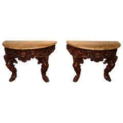 PAIR OF WALNUT BACCHANALIAN CONSOLE TABLES