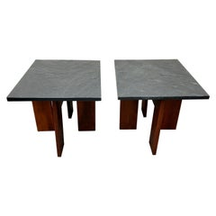 Pair of Walnut Base and Black Slate Top Side Tables by Adrian Pearsall, 1960s