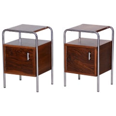 Pair of Walnut Bauhaus Bed-Side Tables by Robert Slezak, Czechoslovakia, 1930s