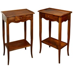 Pair of Walnut Bedside Tables in the Louis XV Manner