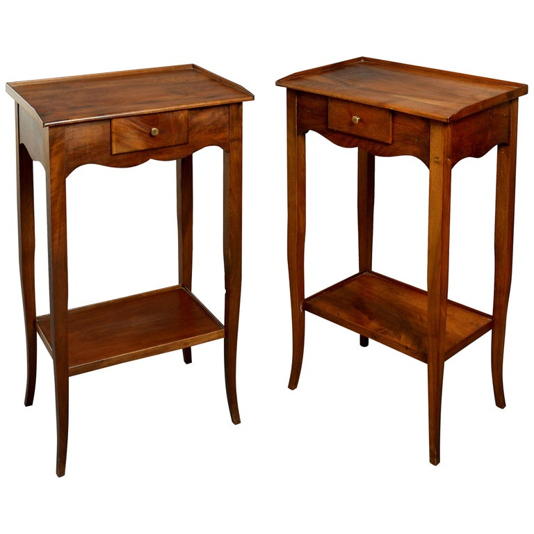 Pair of Walnut Bedside Tables in the Louis XV Manner For Sale
