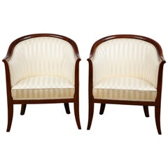 Pair of Walnut Biedermeier Bergères
