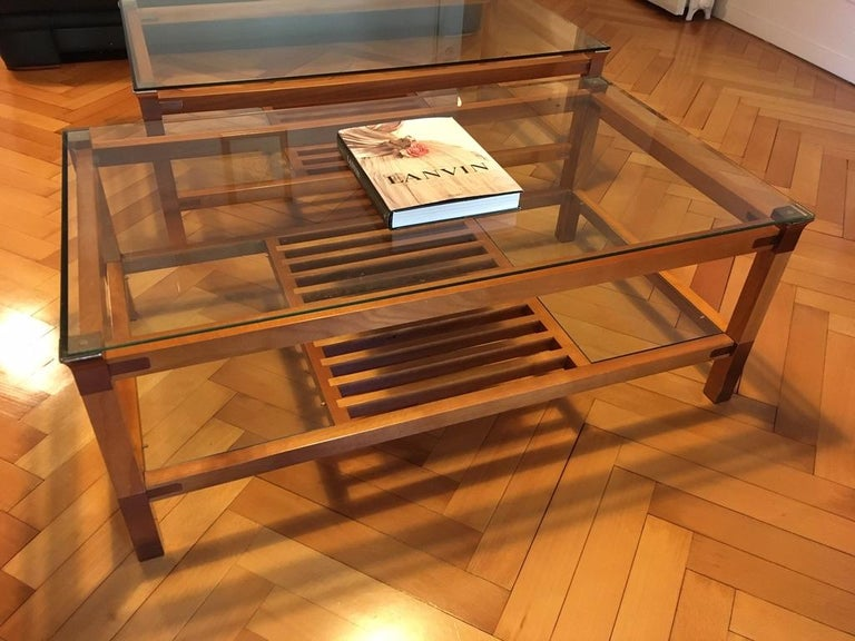 Pair of Walnut, Brass and Glass Coffee Tables by Pierre Vandel, Paris, 1980s For Sale 5