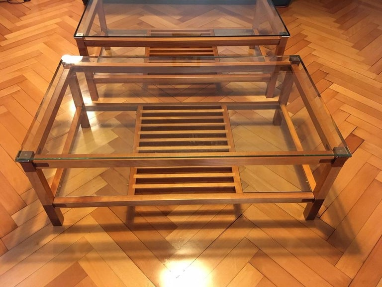 French Pair of Walnut, Brass and Glass Coffee Tables by Pierre Vandel, Paris, 1980s For Sale