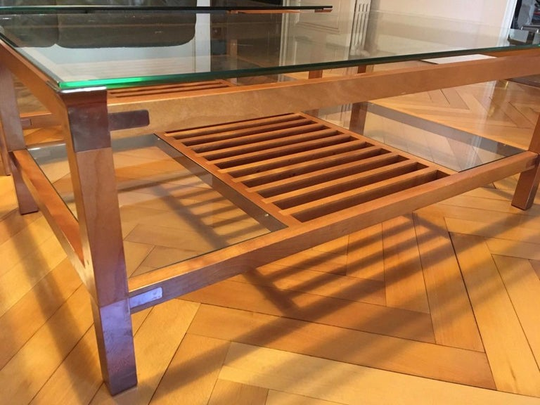Pair of Walnut, Brass and Glass Coffee Tables by Pierre Vandel, Paris, 1980s For Sale 1