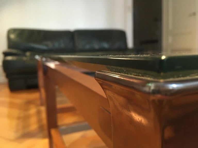 Pair of Walnut, Brass and Glass Coffee Tables by Pierre Vandel, Paris, 1980s For Sale 2