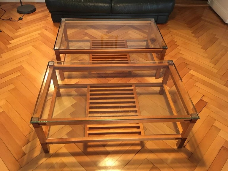 Pair of Walnut, Brass and Glass Coffee Tables by Pierre Vandel, Paris, 1980s For Sale 3