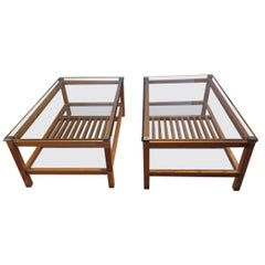 Pair of Walnut, Brass and Glass Coffee Tables by Pierre Vandel, Paris, 1980s