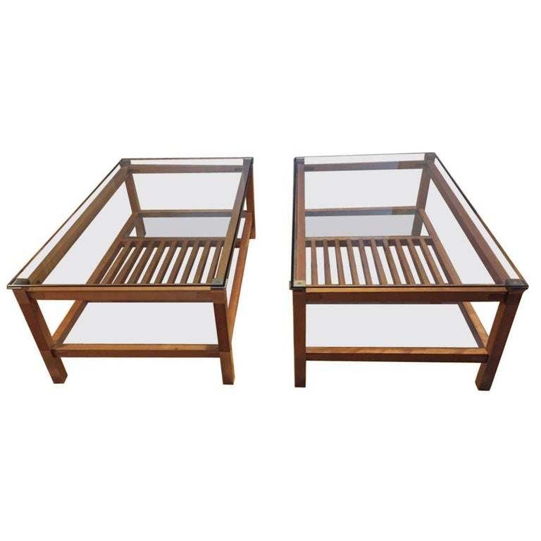 Pair of Walnut, Brass and Glass Coffee Tables by Pierre Vandel, Paris, 1980s For Sale