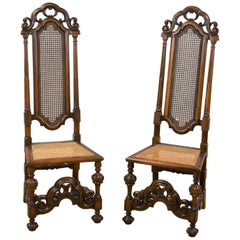 Pair of Walnut Carolean Style High Back Chairs