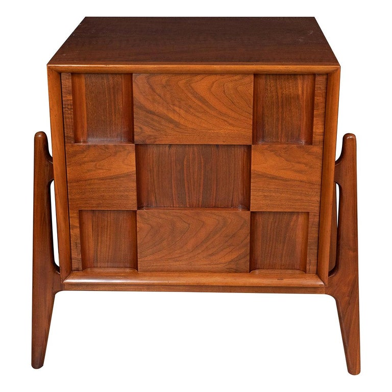 Pair of Walnut Checkered Nightstands / Side Tables For Sale