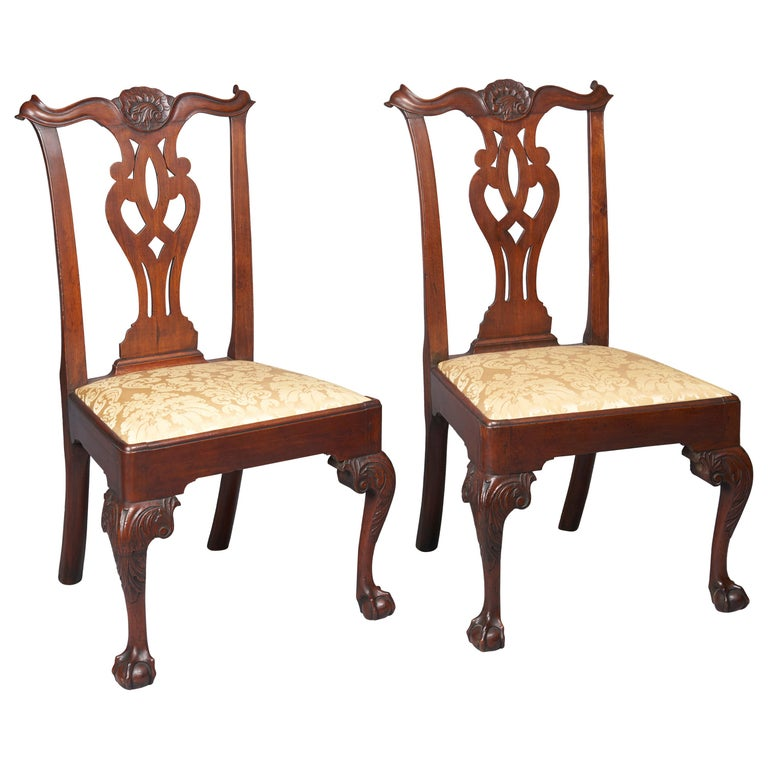 Pair of Walnut Chippendale Side Chairs For Sale