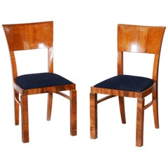 Pair of Walnut Czech Art Deco Chairs, Czechoslovakia, Period 1930-1939