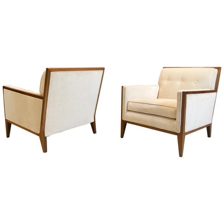 Pair of Walnut Deco Style Lounge Chairs, 1970s For Sale