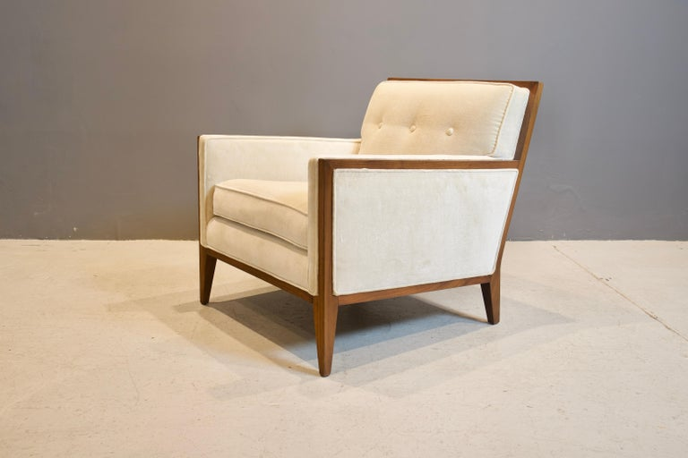 American Pair of Walnut Deco Style Lounge Chairs, 1970s For Sale