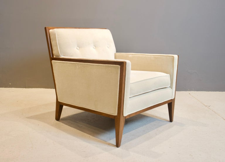 Pair of Walnut Deco Style Lounge Chairs, 1970s In Excellent Condition For Sale In New York, NY