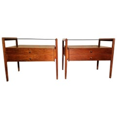Pair of Walnut End Tables from the Parallel Line for Drexel, 1960s