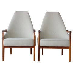 Pair of Walnut Framed Armchairs, U.S.A, 1960s