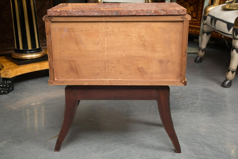 Pair of Walnut French Deco Low Cabinets with Marble Tops For Sale 4