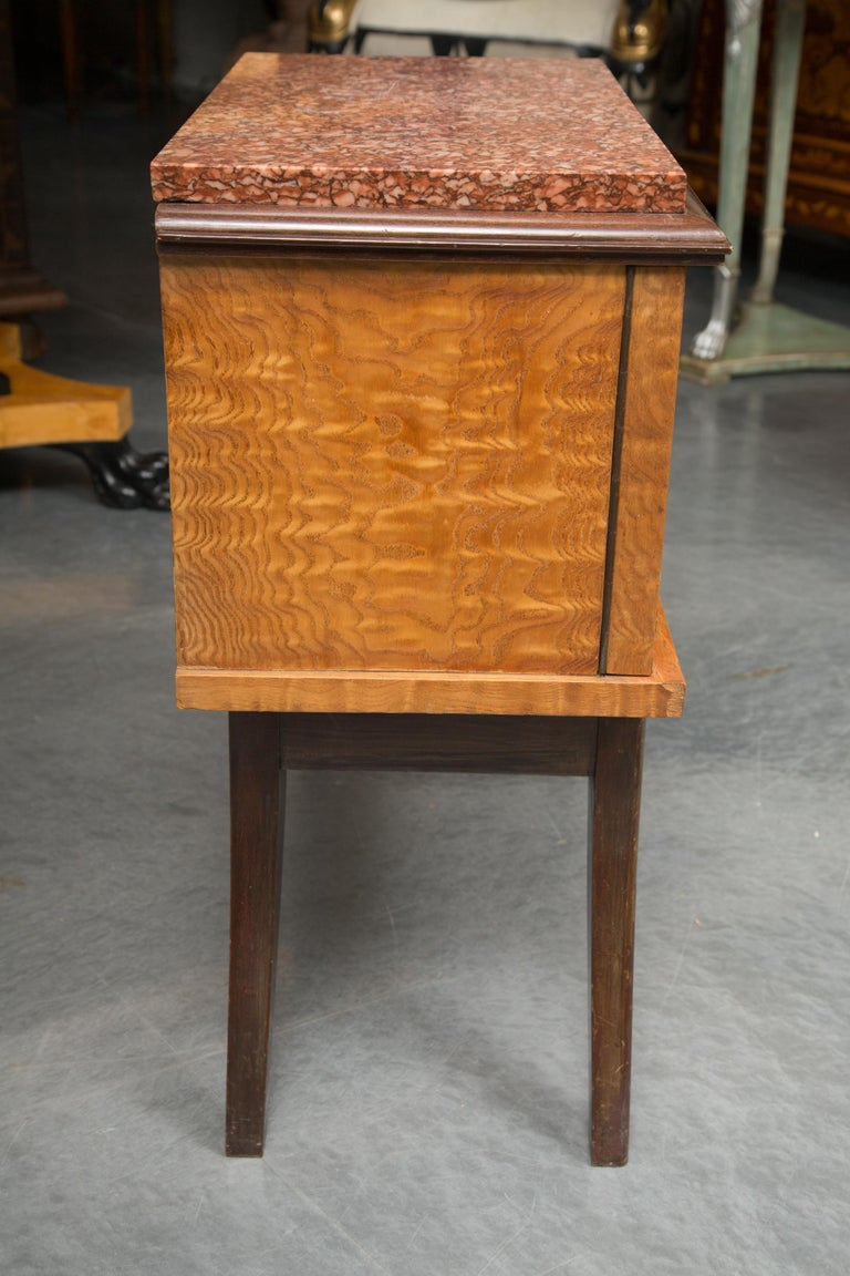 Art Deco Pair of Walnut French Deco Low Cabinets with Marble Tops For Sale