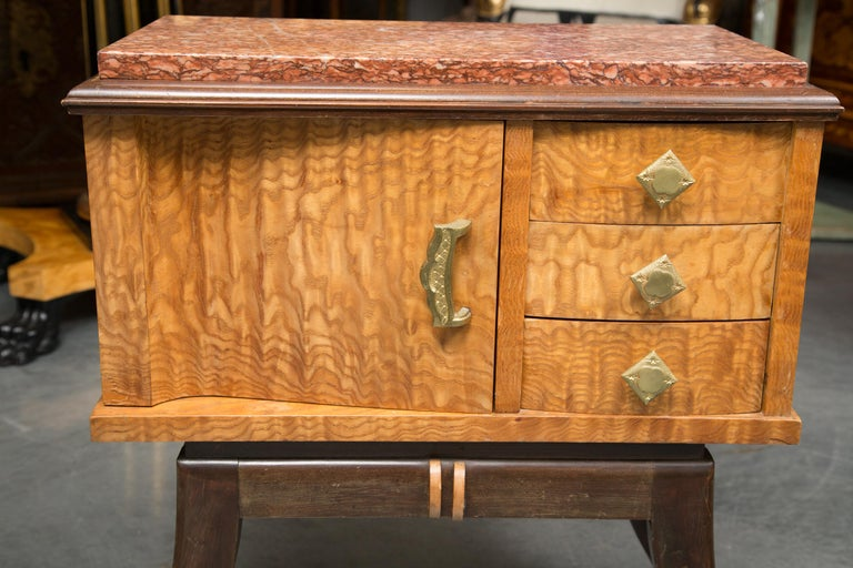 Ebonized Pair of Walnut French Deco Low Cabinets with Marble Tops For Sale