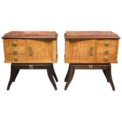 Pair of Walnut French Deco Low Cabinets with Marble Tops