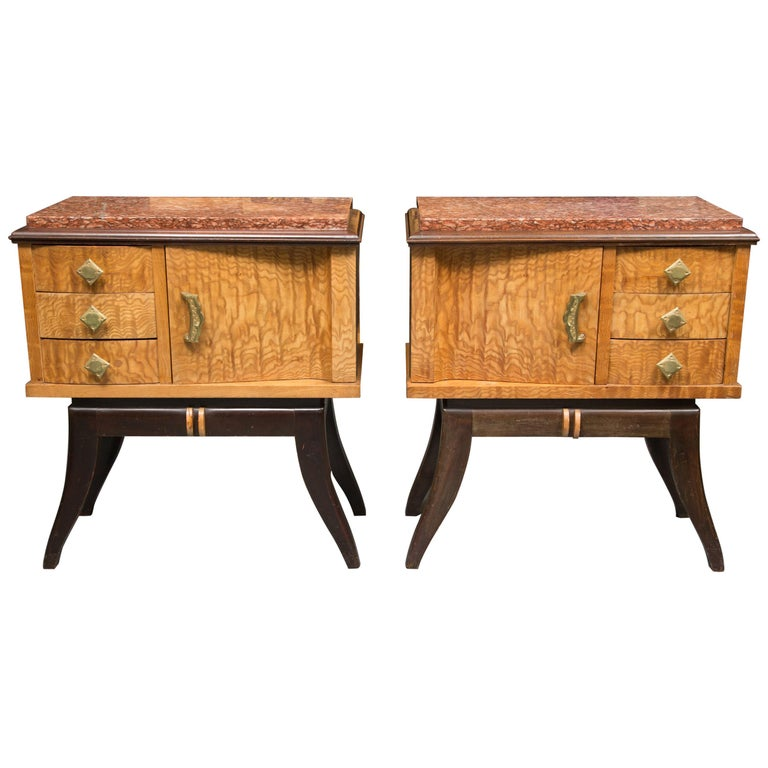 Pair of Walnut French Deco Low Cabinets with Marble Tops For Sale