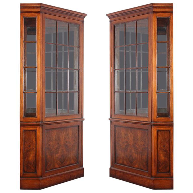 Pair of Walnut Georgian Revival Corner Cabinets