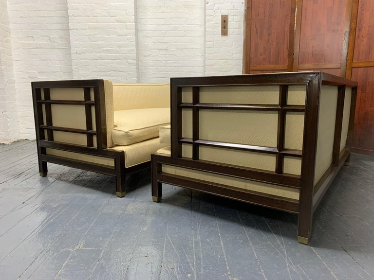 Hollywood Regency Pair of Walnut James Mont Sofas For Sale