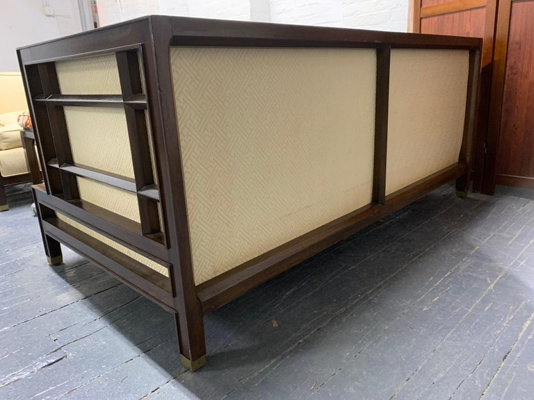 Pair of Walnut James Mont Sofas In Good Condition For Sale In New York, NY