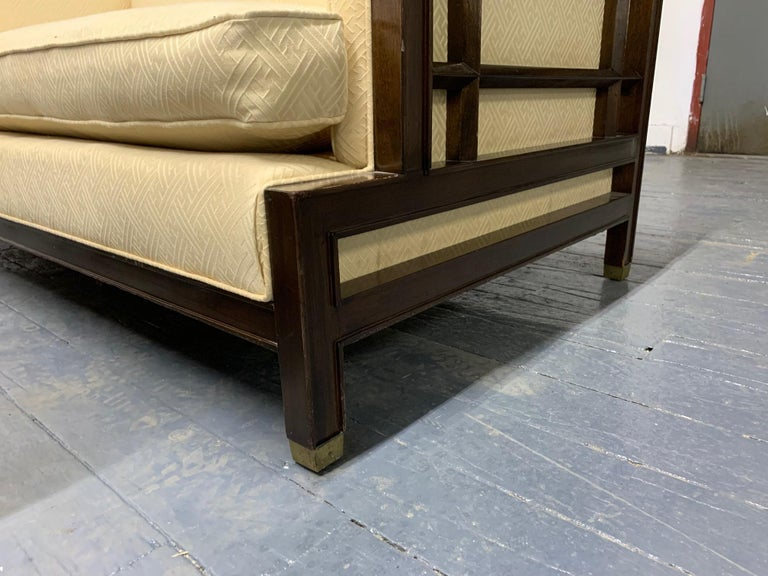 Pair of Walnut James Mont Sofas For Sale 1