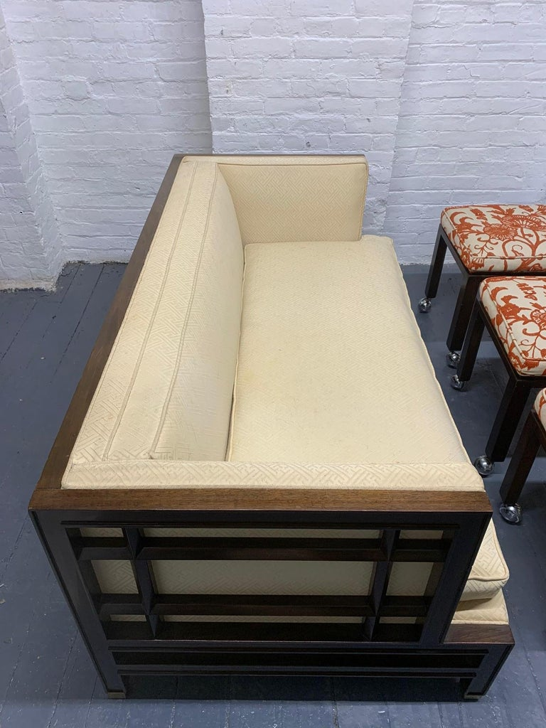 Pair of Walnut James Mont Sofas For Sale 2