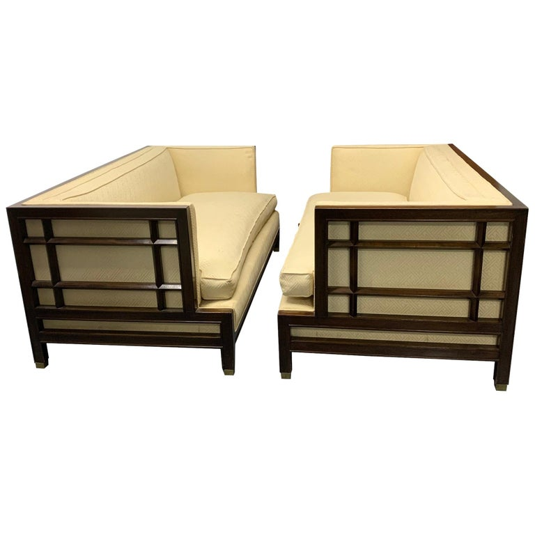 Pair of Walnut James Mont Sofas For Sale