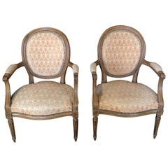 Pair of Walnut Louis XVI Armchairs or Fauteuils