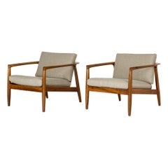 Pair of Walnut Lounge Chairs by Folke Ohlsson
