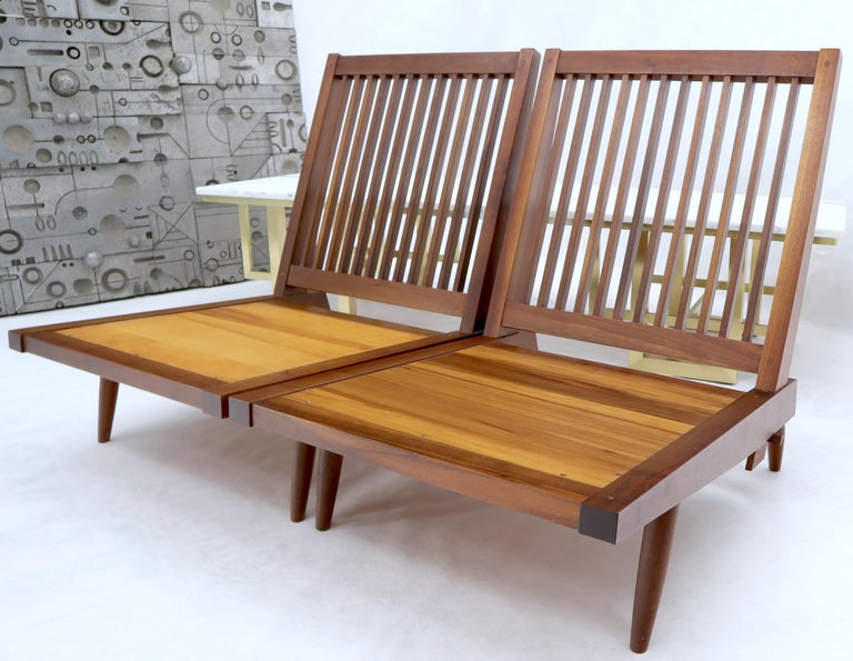 Pair of Walnut Lounge Chairs by George Nakashima For Sale 11