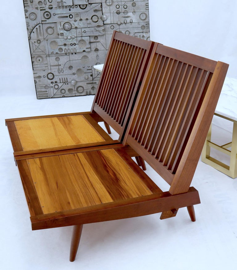 Pair of Walnut Lounge Chairs by George Nakashima For Sale 12
