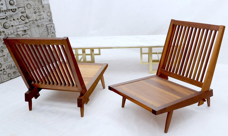 Upholstery Pair of Walnut Lounge Chairs by George Nakashima For Sale