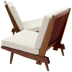 Pair of Walnut Lounge Chairs by George Nakashima