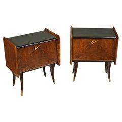 Pair of Walnut, Mahogany and Ebonized Wood Design Italian Nightstands, 1970
