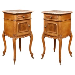 Pair of Walnut Marble Top Bedside Cabinets