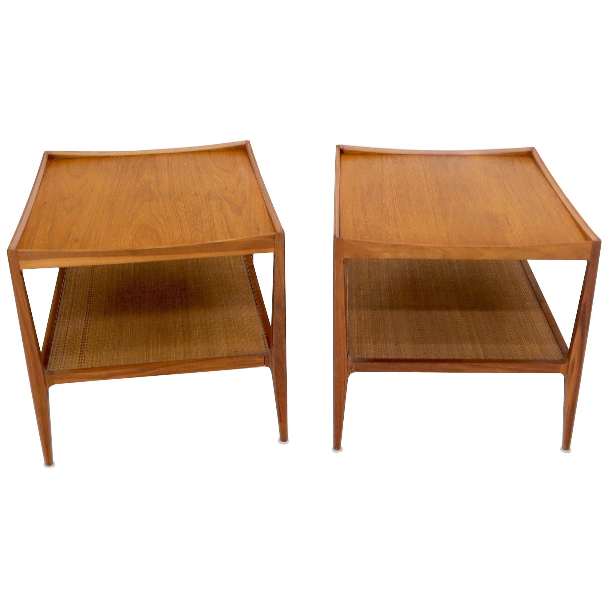 Pair of Walnut Mid-Century Modern Two-Tier Cane Shelf End Side Tables Stands