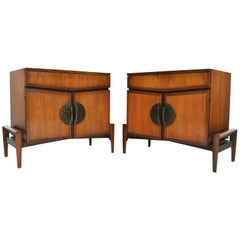 Pair of Walnut Mid Century Nightstands by Helen Hobey Baker