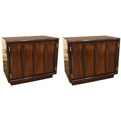 Pair of Walnut Midcentury Two-Door End Tables